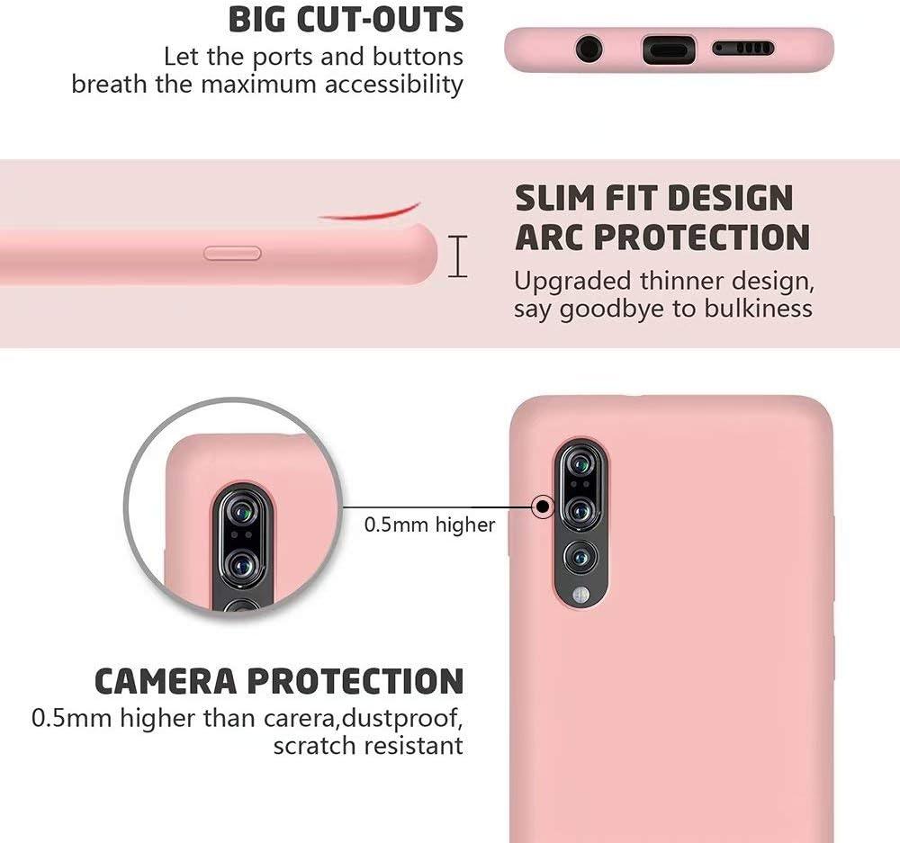 MUTOUREN Kompatibel mit Huawei P20 Pro H/ülle Fl/üssig Silikon Ultrad/ünne TPU Gel Gummi Handytasche Anti-Shock Durable Soft Schutzh/ülle Case Cover f/ür Huawei P20 Pro Rosa