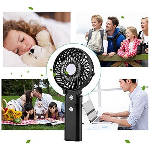Portable Handheld Fan DOIOWN USB Mini Table Desk Personal Fan with 4000mAh Rechargeable Power Bank For Travel Outdoor Pool Car Desk (4000mAh portable charger&black) by DOIOWN (Image #6)
