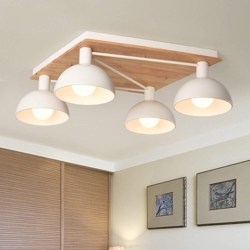LED Weiß (Eisen + Massivholz) Nordic einfache Wohnzimmer Schlafzimmer Badezimmer rechteckige Deckenleuchten/Kreative Atmosphäre Holzdecke Licht (Farbe: 4-Leuchten - * warmes Licht * 5W LED)
