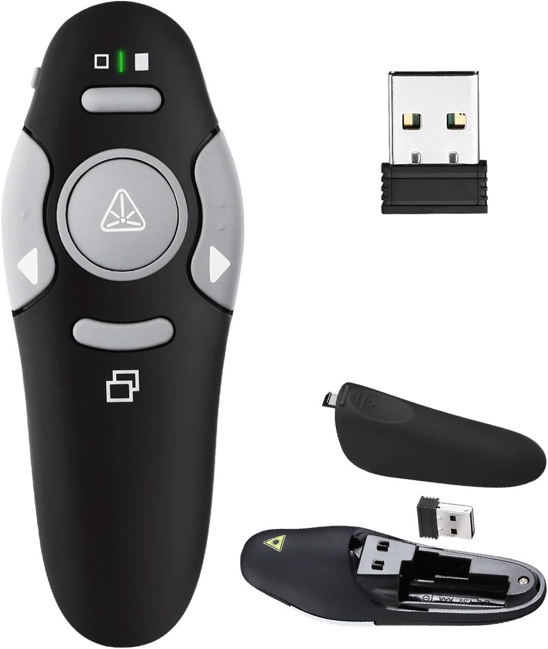 Presentation Clicker Remote Laser Pointer - Wireless USB Presenter - Slideshow PowerPoint Clicker - Compatible with Win10?MAC - Support PPT?Keynote?Google Slides (K100B)