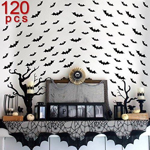 Ivenf Halloween Party Supplies Decorations Wall Decal Sticker Window Decor Bats Pack Of 120