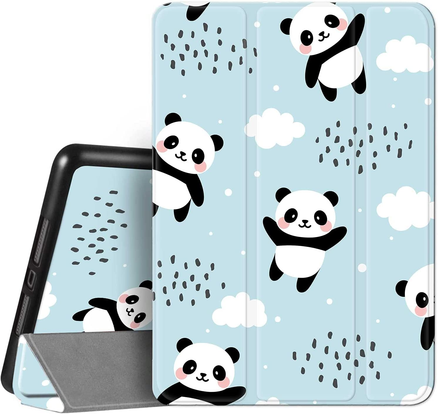 Hi Space iPad 8th / 7th Generation Case iPad 10.2 Case with Pencil Holder 2020 2019, Pandas Blue Cute Cloud Protective Shockproof Smart Cover Auto Sleep Wake for A2270 A2428 A2429 A2197 A2198 A2200
