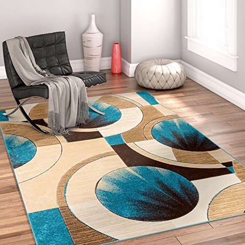 Sunburst Blue, Beige, Brown Modern 4x5 4x6 ( 3'11'' x 5'3'' ) Geometric Comfy Casual Hand Carved Area Rug Easy to Clean Stain & Fade Resistant Abstract Contemporary Thick Soft Plush (Accent Sunburst)