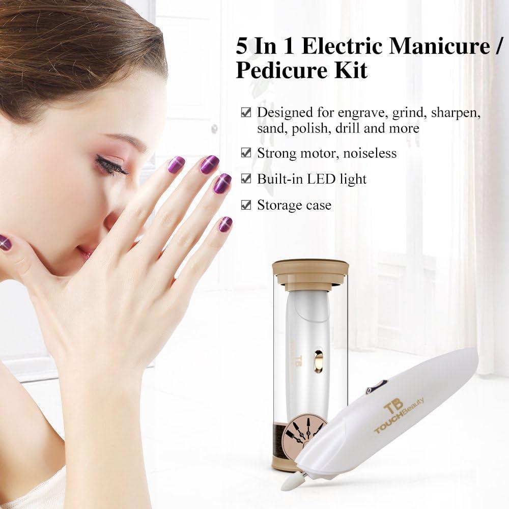 TOUCHBeauty TB-1333 LED Set de Manicura y Pedicura Eléctrica Portátil, 5 accesorios incluidos