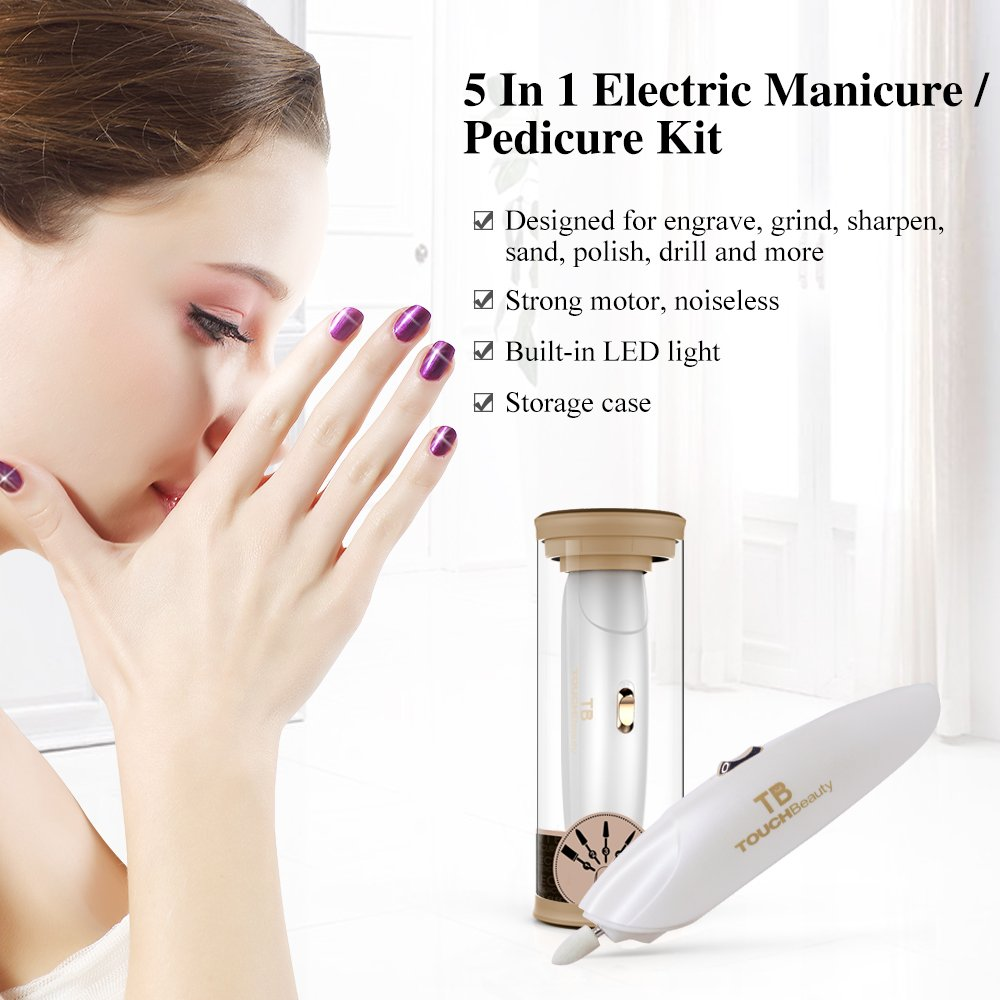 TOUCHBeauty Professional Manicure Pedicure System Nail File Drill Buffer Set Acrylic Nail Tools with LED Light (Delicate Gift Package Version) Golden TB-1333