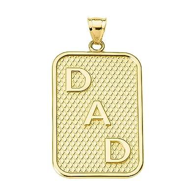 c595e13ef0736 Men's Fine Jewelry 10k Yellow Gold DAD Dog-Tag Engravable Pendant ...