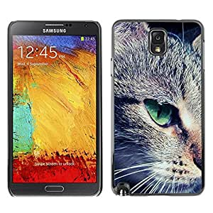YiPhone /// Prima de resorte delgada de la cubierta del caso de Shell Armor - Green Eye Mongrel Shorthair Close Cat - Samsung Galaxy Note 3 N9000 N9002 N9005