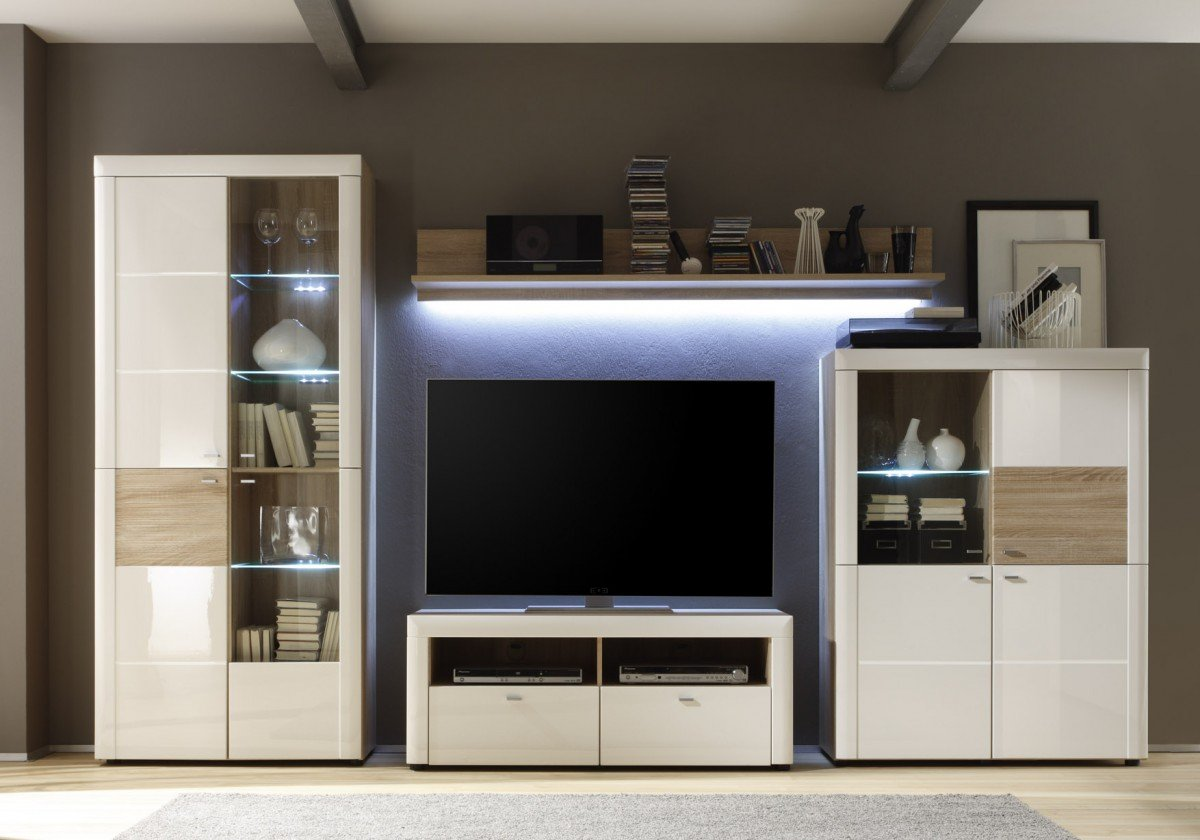 dreams4home wohnwand 39 nassau 39 wohnwand anbauwand wohnzimmerschrank schrankwand tv wand. Black Bedroom Furniture Sets. Home Design Ideas