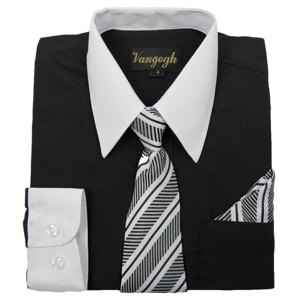 Vangogh Boys Long Sleeve Dress Shirt with Contrast Collar /& Cuffs