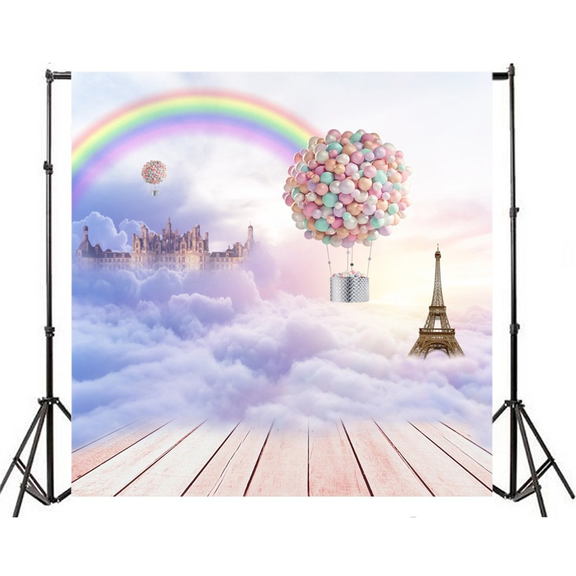 Aofoto 8x8ft sweet hot air balloon photography studio backdrop heavenly rainbow eiffel tower background romantic sky clouds wedding photo shoot props video
