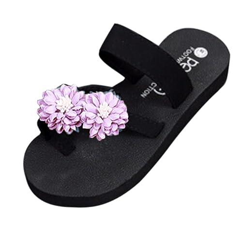 b107c343059 Amazon.com  ZOMUSA Women Summer Bohemian Platform Bath Sandals Shoes Wedge  Flip Flops Beach Slippers (US 7.5