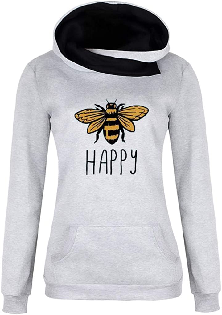 Womens Fashion Solid Outerwear Pocket Jacket Zipper Long Sleeve Plush Hooded Coat Lapel Pullover Bee Print Sweater