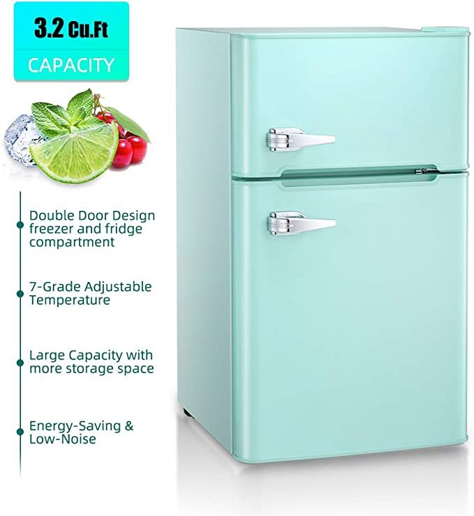 3.3 Cu.ft Portable Double-door Freezer with Removable shelves Kismile Free-standing Upright Refrigerator for Dorm//Apartment//Hotel//Office//Home//RV Green, 3.3 Cu.ft Built-in Compact Fridge