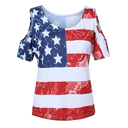 df6d9208a88 Amazon.com   Fiaya 4th Of July Women Clothes Blouse Plus Size Short Sleeve  American Flag Loose T-Shirt Tank Top (Red A01