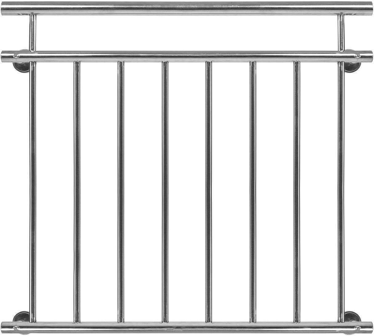 Homelux Balkongitter Franz/ösischer Balkon aus Edelstahl V2A Gel/änder Fenstergitter Balustrade Handlauf Stabgel/änder montagefertig 100 x 90 cm Gl/änzend