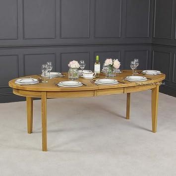 French Regal Eiche Oval Ausziehbarer Tisch Amazon De Kuche Haushalt