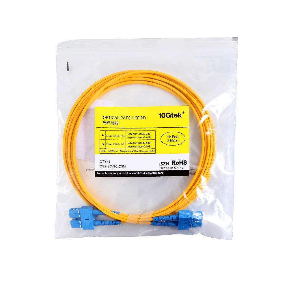 16.5ft 10Gtek/® SC to LC OS2 5m Singlemode Fiber Optic Patch Cord Cable Duplex LSZH for SFP /& Media Converters