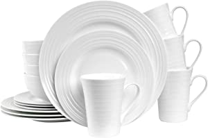 Stone Lain Round Swirl Design 16 Piece Dinnerware Set, White