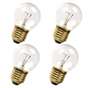 Wadoy Oven Refrigerator Bulbs 40W 110V-120V Clear Glass Light Bulb E27/E26 Medium Brass Base- Appliance Light Bulb 40 watt for Oven 400 Lumens (Pack of 4)