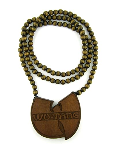 Wooden wu tang clan pendant piece 36 bead chain good wood style wooden wu tang clan pendant piece 36quot bead chain good wood style brown aloadofball Images