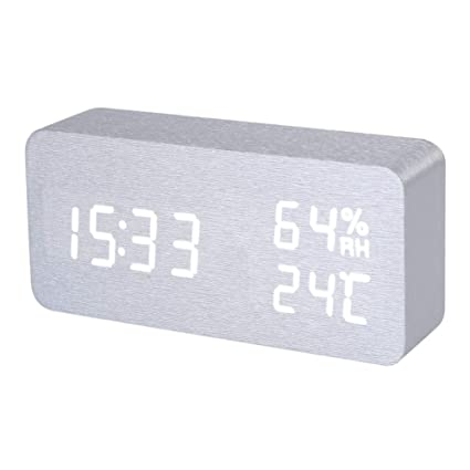 Reloj Despertador - Silver White Voice Humidity Digital Clock Wooden Electronic Desk Table Led Display Alarm