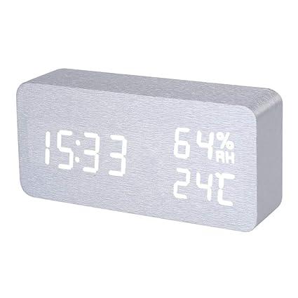 Reloj Despertador - Silver White Voice Humidity Digital Clock Wooden Electronic Desk Table Led Display Alarm