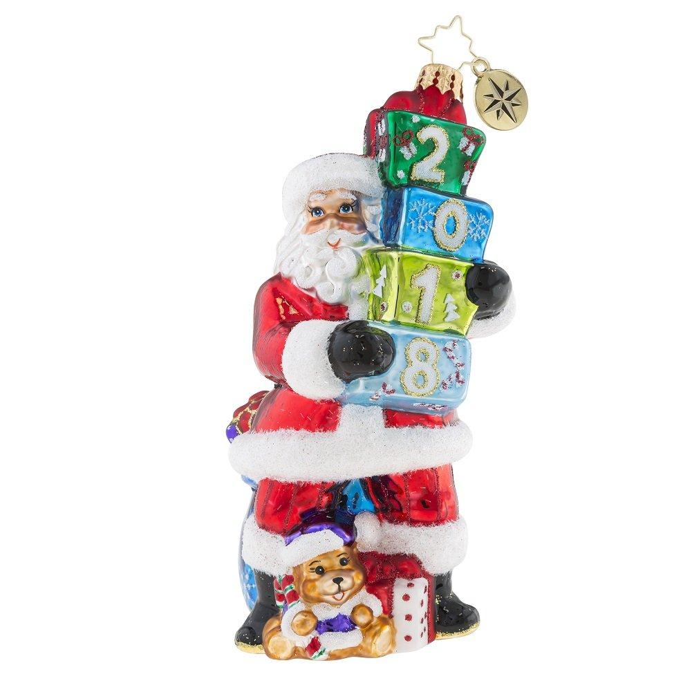Christopher Radko Unwrapping 2018 Santa Glass Ornament
