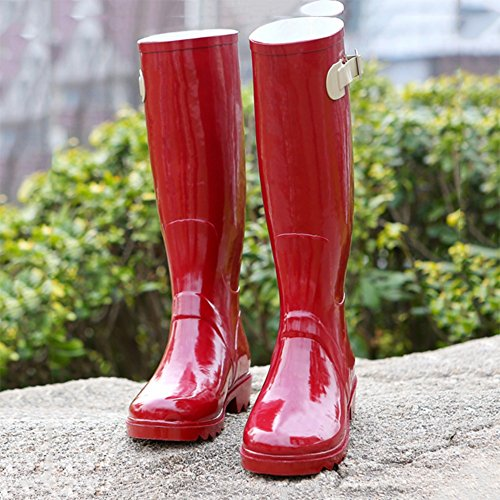 NAN Rain Boots Handsome Buckle Locomotive Spring And Summer Rain Boots High Ladies Water Shoes Women's Boots Motorcycle Wind Shoes (Color : Red, Size : EU37/UK4.5-5/CN37) Red