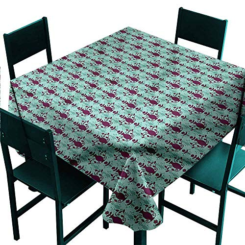 - DONEECKL Square Tablecloth Damask Floral Vase Pattern Washable Tablecloth W36 xL36