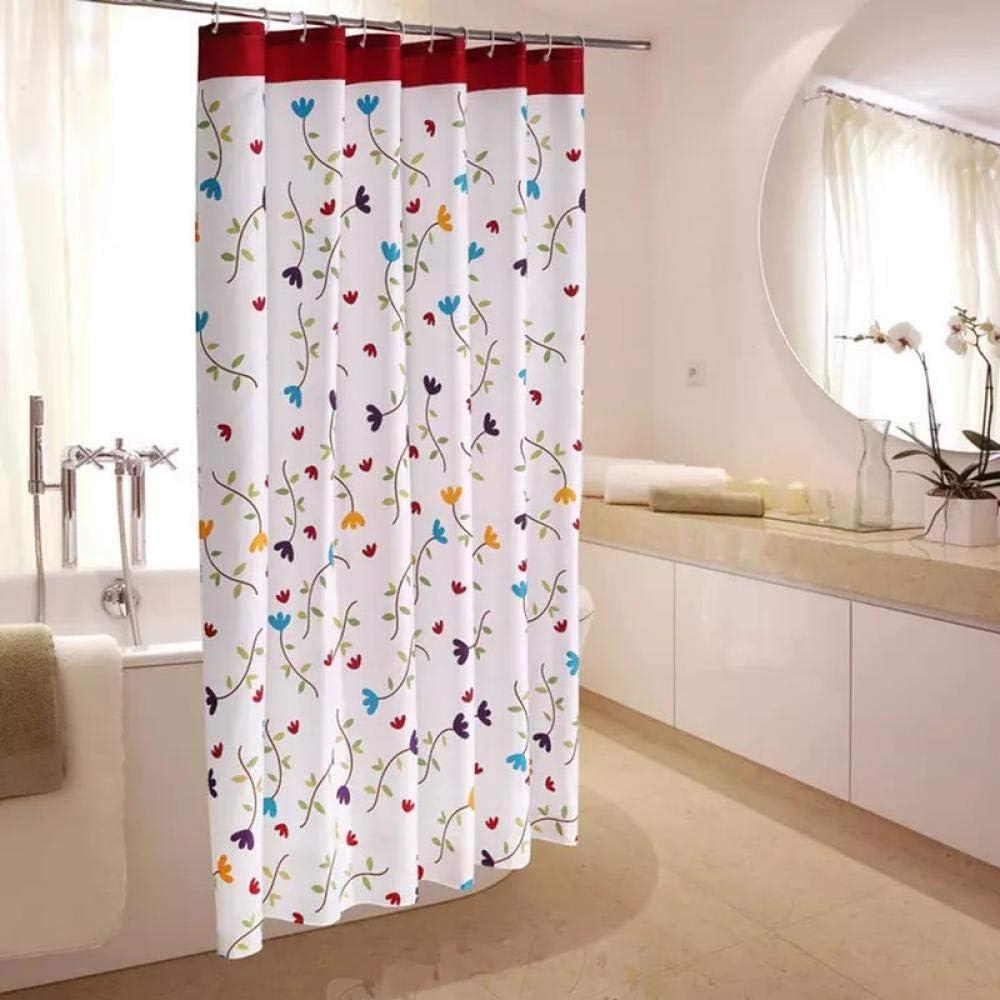 Patrón de círculo Poliéster Cortinas de baño Impermeables con Ganchos de plástico Bola Blanca Patrón PEVA Baño Impermeable 10 180 * 180 cm