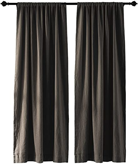 COFTY Linen Cotton Blackout Curtain Drapes 2-Layer Heavyweight