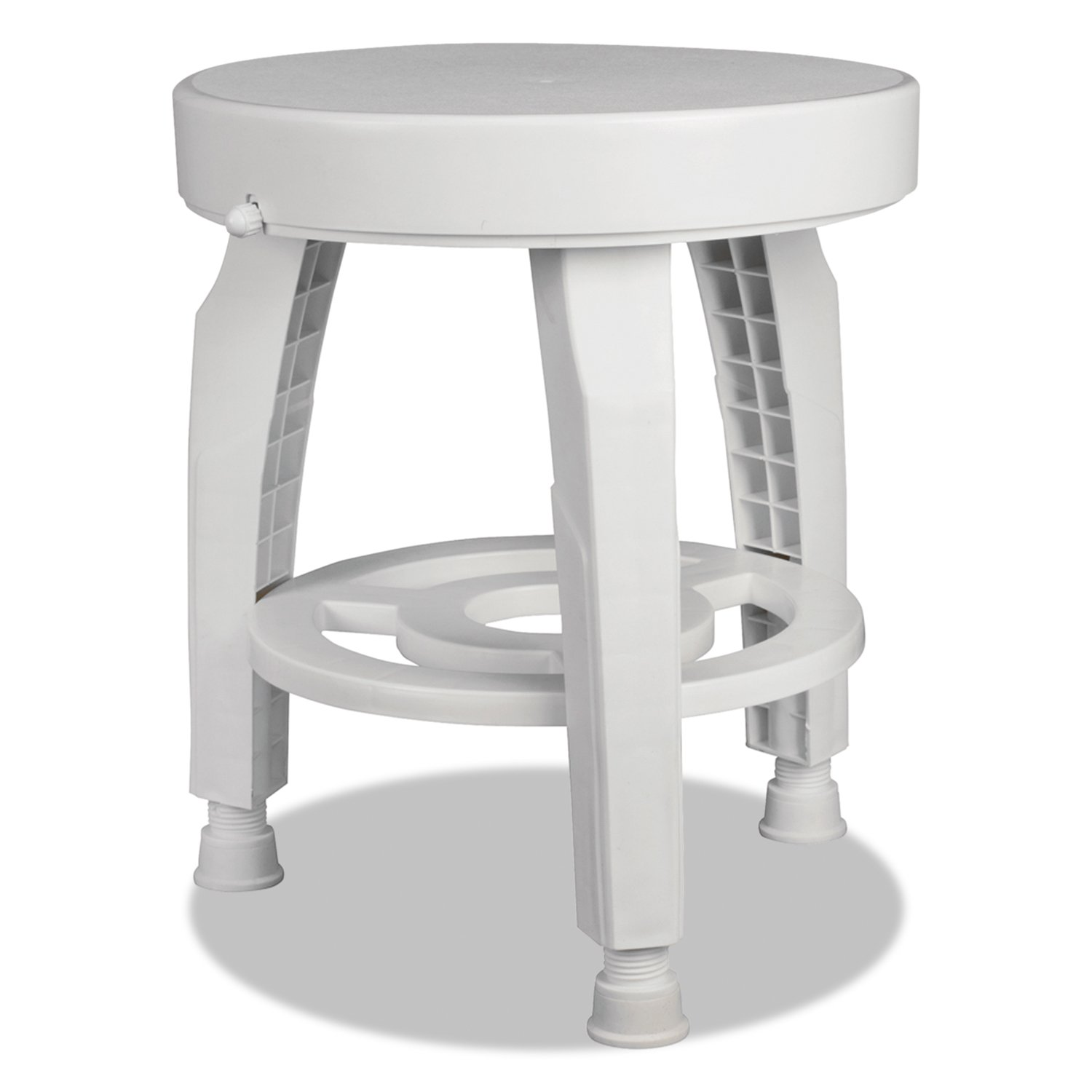 HealthSmart Rotating Bath and Shower Stool Chair with Germ-Free Protection and Storage Shelf, No Tools Needed, White 522-9810-1900