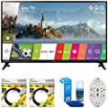 """LG 43"""" Class Full HD 1080p Smart LED TV 2017 Model (43LJ5500) with 2x 6ft High Speed HDMI Cable, Screen Cleaner for LED TVs & Transformer Tap USB w/ 6-Outlet Wall Adapter and 2 Ports"""