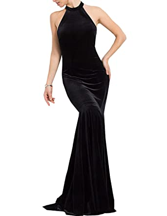 Womens Velvet Mermaid Prom Dresses Simple Velvet Trumpet Evening Party Dress: Amazon.co.uk: Clothing