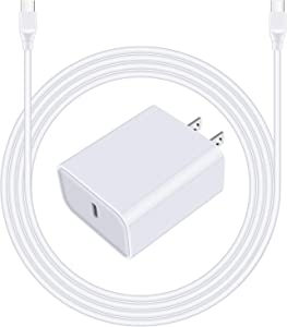"PD Fast Charging USB C Wall Charger for iPad Pro 12.9""/11"" Google Pixel 5/4a 5G/4a/4 XL/3 XL/3a XL/2 Samsung Galaxy S20 FE S20+ S10 Lite S10e Note 20 Ultra A10E A20 A21 A51 A71, 6ft USB C to C Cable"