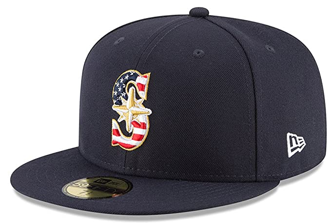 brand new b2eb8 70d85 New Era Seattle Mariners Navy 4TH of July Cap 59fifty 5950 Fitted MLB Limited  Edition  Amazon.co.uk  Clothing