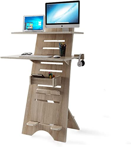 Modern Height Adjustable Sit to Stand Up Desk. Large Wood Desk Spaces That Easily Adjust