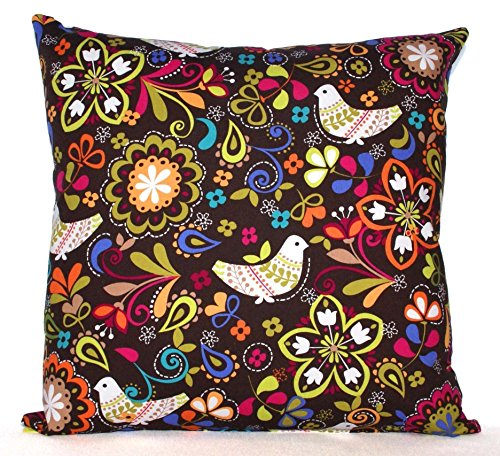Brown Throw Pillow Cover - Cushion Cover - Birds and Floral Print on Brown - Fits 16