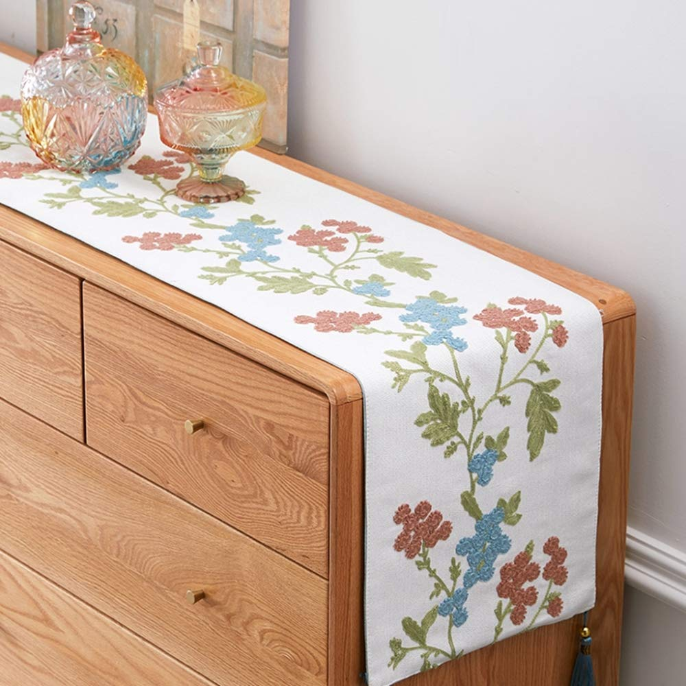 35x200CM QVQV Table Runners European Pastoral Cotton And Linen Embroidery Table Flag Tv Cabinet Cover Pingjiao