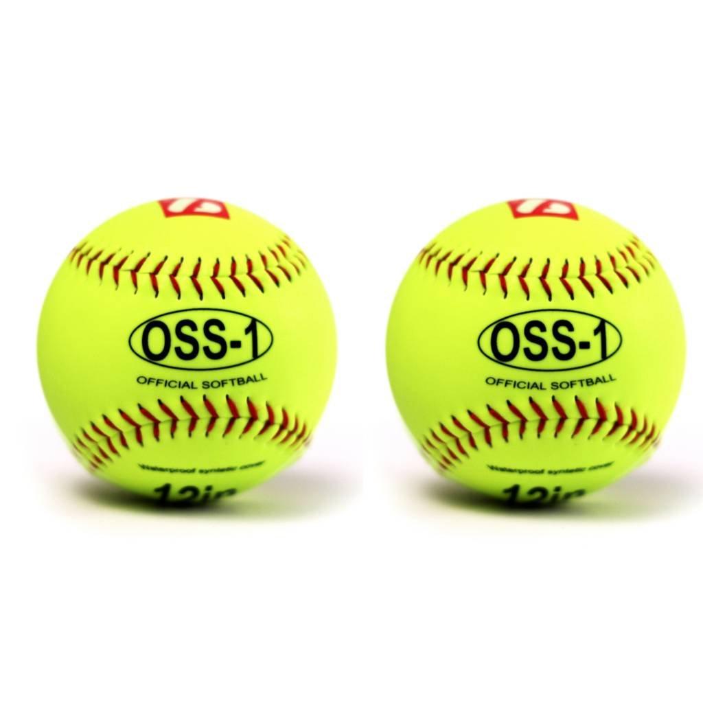 barnett OSS-1 practice softball ball, size 12', yellow 2 pieces