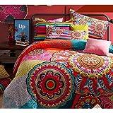 Hughapy 4-Piece Bohemian Bedding Set Boho Duvet Cover set Full Size,#001