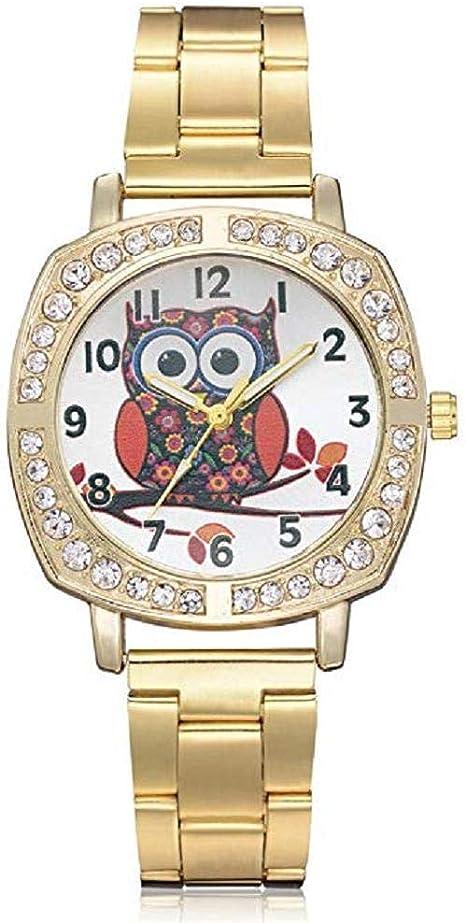 Scpink ClÁSico Reloj para Mujer, Pop Moda Reloj de Cuarzo de Lujo con Diamantes de ImitaciÓN Acero Inoxidable Espejo de Cristal Estuche Redondo Reloj Digital Vestido Elegante (Dorado): Amazon.es: Deportes y aire