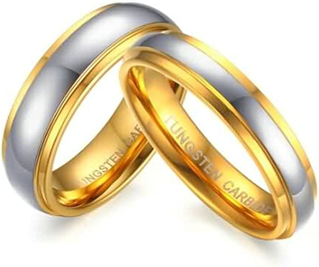Mens Wedding Bands Gold High Polished,Width 6MM Size 8 Epinki Stainless Steel Ring