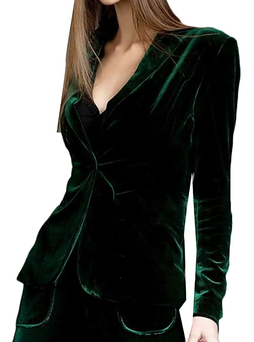 Earnest Womens Loose Velvet Slim Button Suit Blazers Jackets