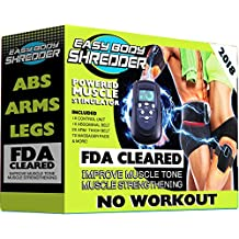 Easy Body Shredder Electric Ab Belt (2018 Version - FDA Cleared) Waist Trimming Abdominal Simulator - Flex & Contrast Your Ab Muscles Without Workout - Reduce Belly Fat and Strengthen Six Packs
