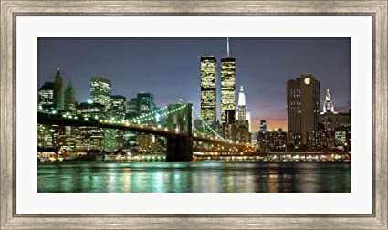 Amazon com: The Brooklyn Bridge and Twin Towers at Night by