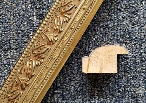 16' Italian Silver Leaf Antique Wash Ornate Solid Wood Picture Frame Moulding -
