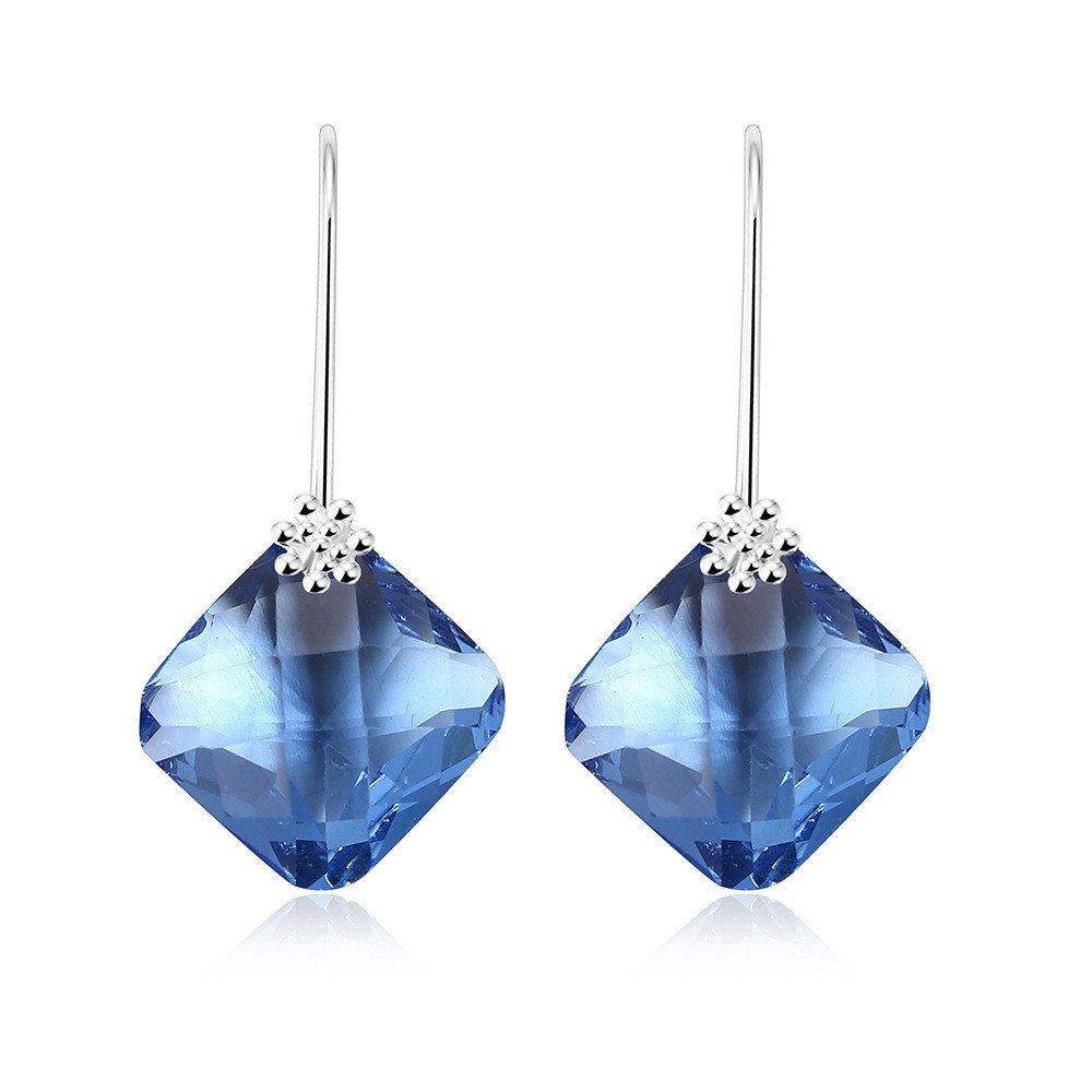 Fashion Elegant Sparkling Crystal Glass Geometric Rhombic Dangle Earrings Special Event Drop Earrings (Blue) by Cherryzz
