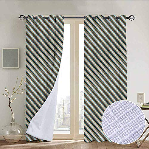 NUOMANAN Bathroom Curtains Stripes,Diagonal Arrangement of Lines in Many Colors Classical Geometric Motifs Design,Multicolor,Room Darkening Waterproof Curtains for Bathroom -