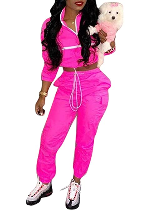 e5037ca05176 Women's Sexy 2 Piece Outfits Long Sleeve Stripe Reflective Jacket Pants  Tracksuit Set at Amazon Women's Clothing store:
